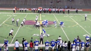 Football team starts a play